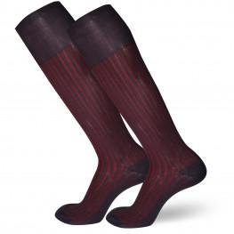 Calze lunghe in caldo cotone fantasia a righe bicolor verticali