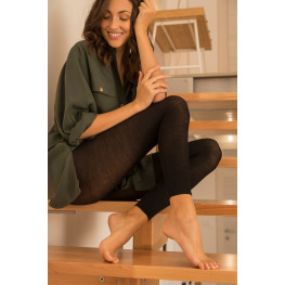 Leggings con Cashmere e Seta a Coste Donna