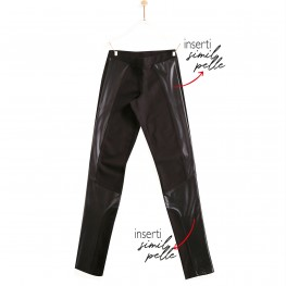 "LEGGINGS ""BIKER"" IN COTONE CON INSERTI IN SIMIL-PELLE"