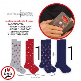 """CONFEZIONE REGALO con 2 paia di calze lunghe, 1 blu + 1  a tema """"I Love DAD"""""""