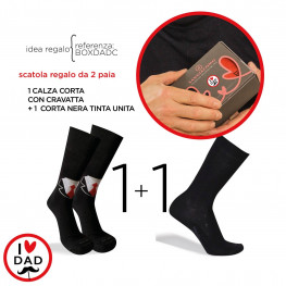 """CONFEZIONE REGALO con 2 paia di calze corte, 1 nera + 1  a tema """"I Love DAD"""""""